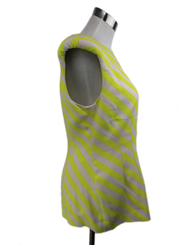 Dries Van Noten Yellow White Stripes Viscose Elastane Top 2