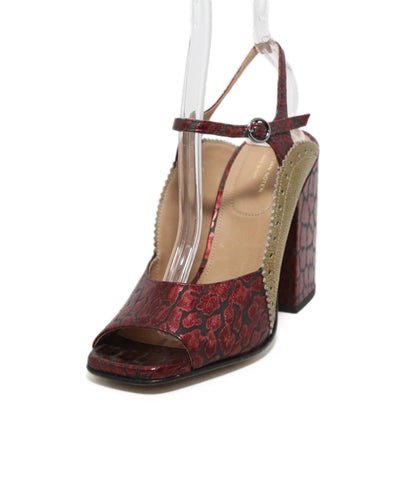 a20802fe61 Dries Van Noten red black print gold leather heels 1 ...
