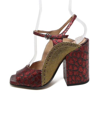 Dries Van Noten red black print gold leather heels 1