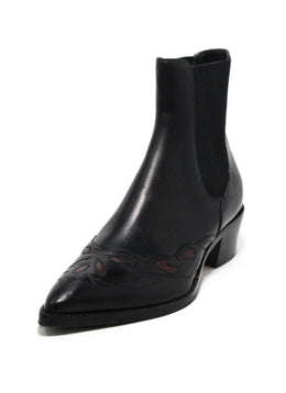 Dries Van noten black leather burgundy trim booties 1
