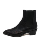 Dries Van noten black leather burgundy trim booties 2