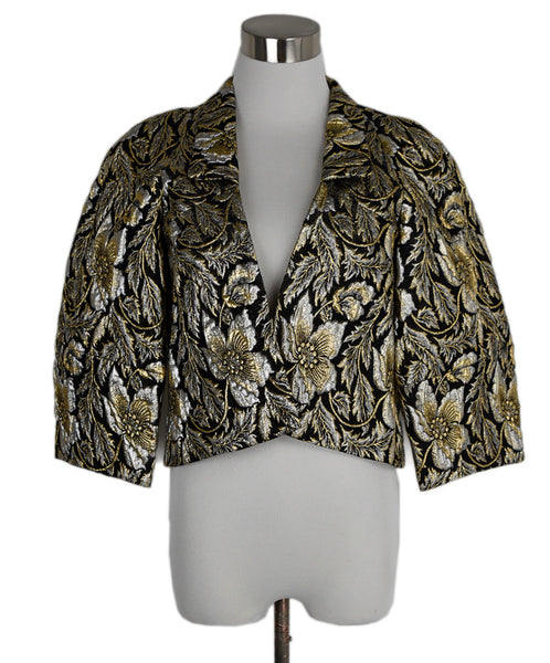 Dries Van Noten Black Cotton Silver Gold Lurex Jacket 1
