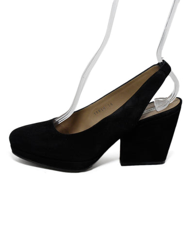 Dries Van Noten Black Suede Sling Backs Wedges 1