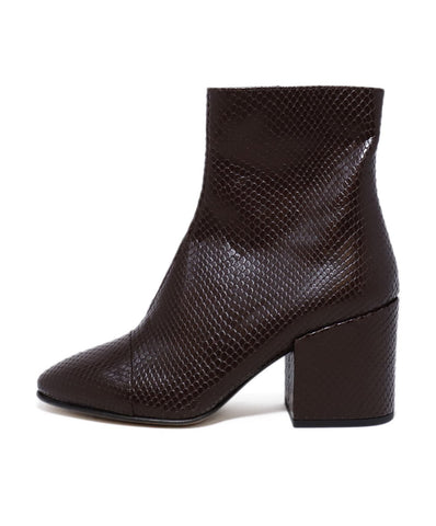 Dries Van Noten Brown Pressed Leather Booties 1