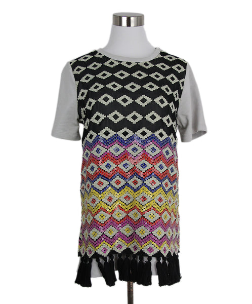 Dries Van Noten Grey Black Cotton Silk Multicolor Sequins Top 1