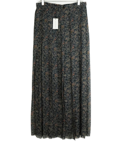 Dries Van Noten Grey Pink Floral Pleated Silk Maxi Skirt 1