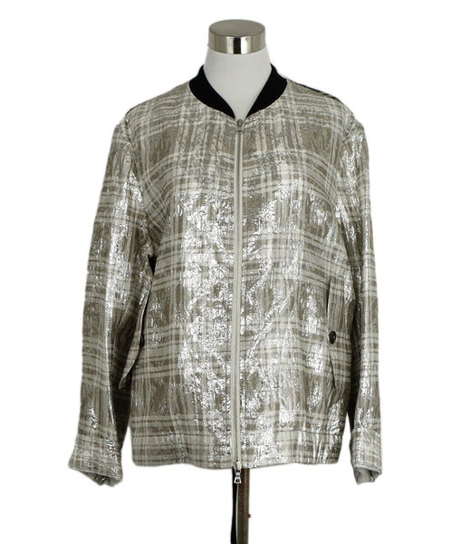Dries Van Noten Metallic Silver Silk Polyester Jacket sz. 8 | Dries Van Noten