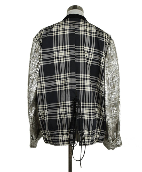Dries Van Noten Metallic Silver Silk Polyester Jacket 3