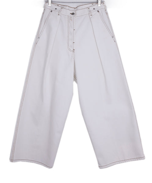 Dries Van Noten White Denim Pants 1