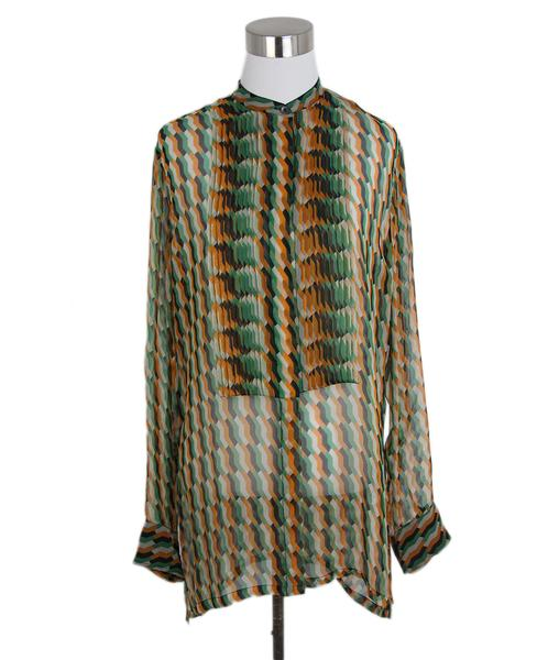 Dries Van Noten Green Black Orange Geometric Print Silk Blouse Sz. 4