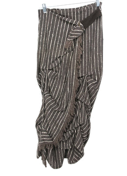 Dries Van Noten Brown White Stripes Fringe Silk Skirt 1