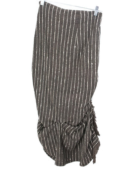 Dries Van Noten Brown White Stripes Fringe Silk Skirt 2