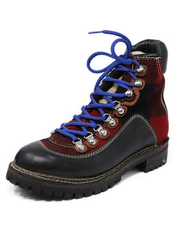 Dsquared2 Black Red Plaid Leather Blue Lace Up Boots
