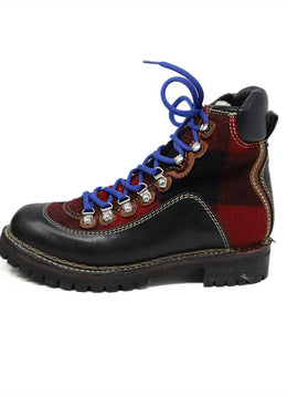Dsquared2 Black Red Plaid Leather Blue Lace Up Boots 1