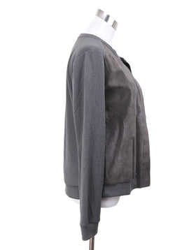 Ecru Taupe Leather Polyester Rayon Jacket 1