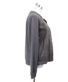 Ecru Taupe Leather Polyester Rayon Jacket Sz 6