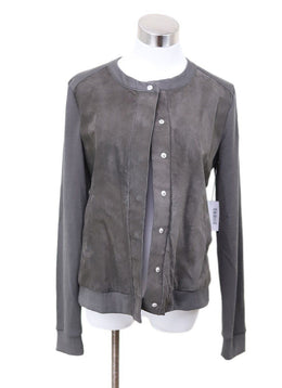 Ecru Taupe Leather Polyester Rayon Jacket
