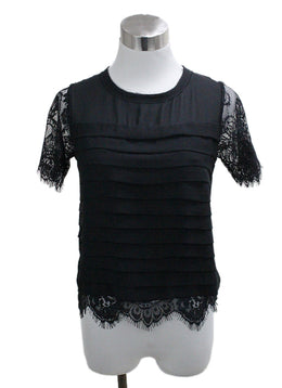Edward Achour Paris Black Silk Lace Blouse