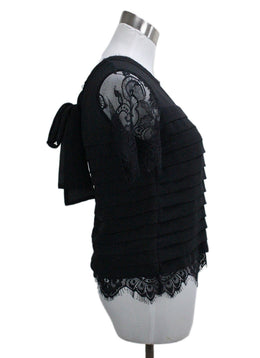 Edward Achour Paris Black Silk Lace Blouse 1