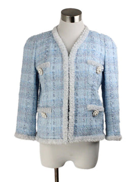 Edward Achour Paris Blue Pale White Cotton Tweed Jacket 1