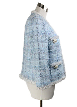 Edward Achour Paris Blue Pale White Cotton Tweed Jacket 2