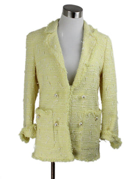 Edward Achour Paris Yellow White Pearl Trim Cotton Tweed Jacket 1