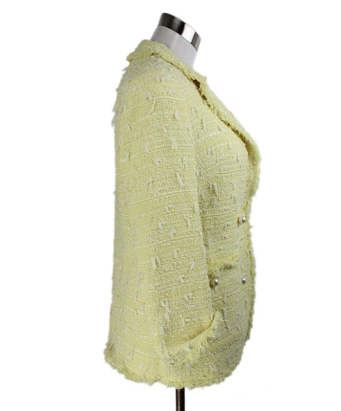 Edward Achour Paris Yellow White Pearl Trim Cotton Tweed Jacket 2