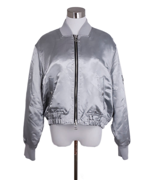 Elizabeth & James Metallic Silver Viscose Bomber Jacket 1