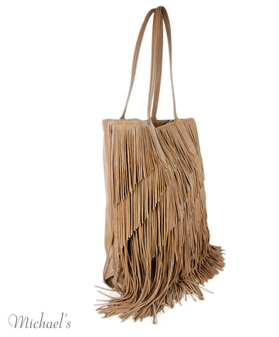 Elizabeth And James Tan Leather Fringe Handbag