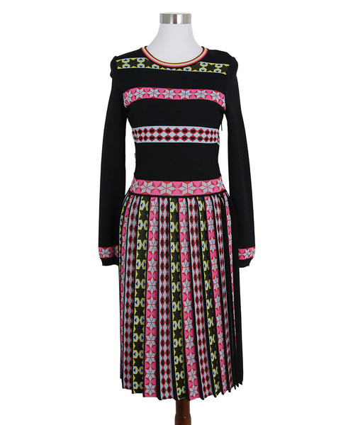 Emilio Pucci Black Pink Yellow Striped Pleated Dress 1