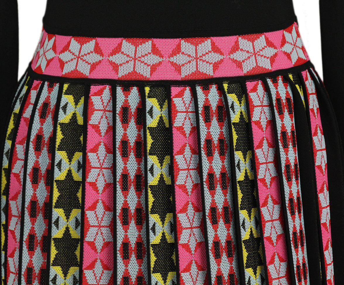 Emilio Pucci Black Pink Yellow Striped Pleated Dress 6