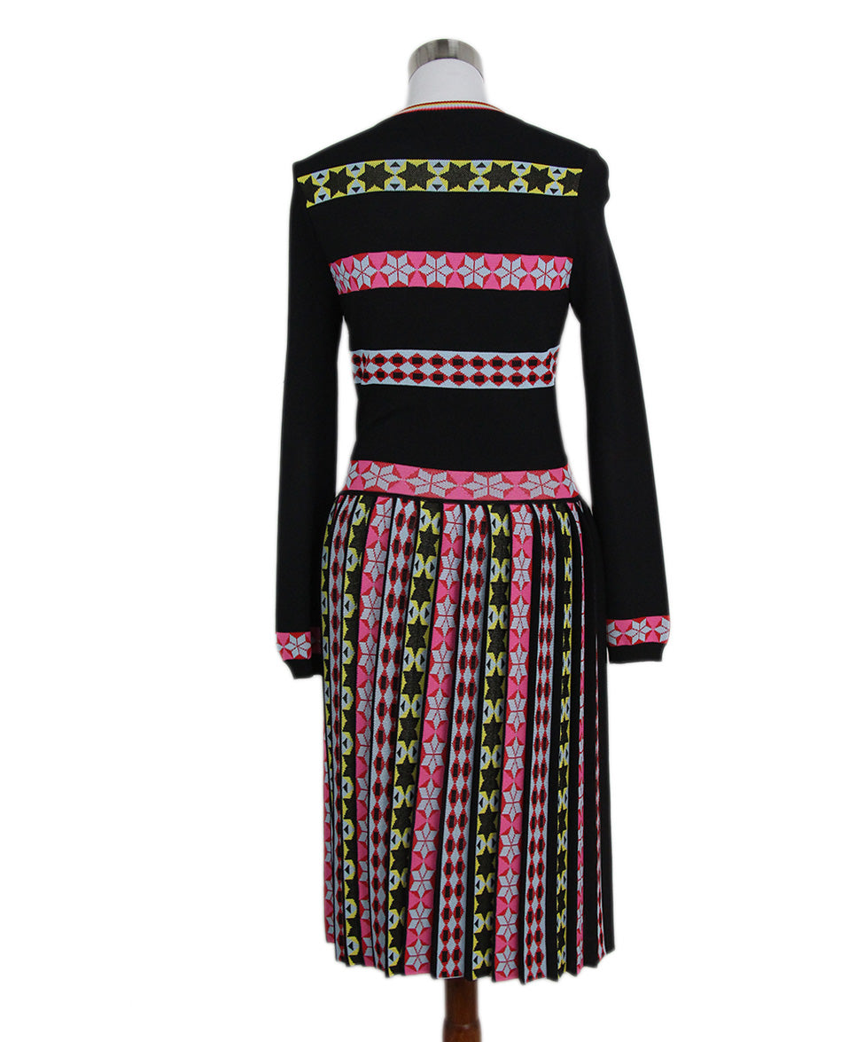 Emilio Pucci Black Pink Yellow Striped Pleated Dress 3