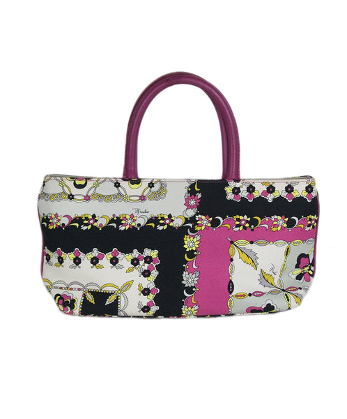 Emilio Pucci Black White Pink Canvas Bag 1