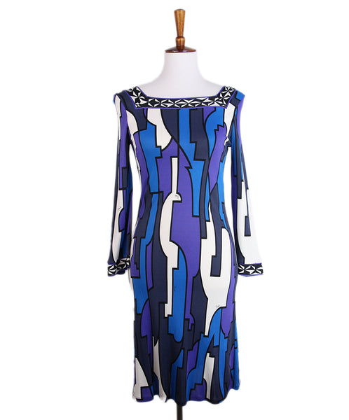 Emilio Pucci Blue Purple Print Dress 1