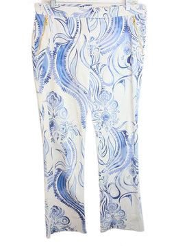 Emilio Pucci Blue White Print Cotton Pants 1