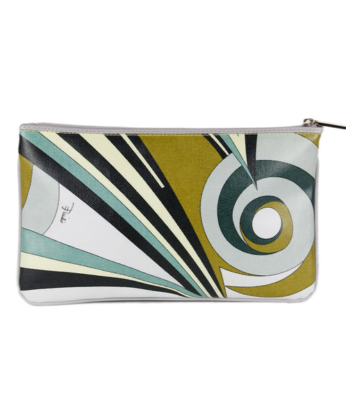 Emilio Pucci Green Black Yellow Canvas Cosmetic Bag