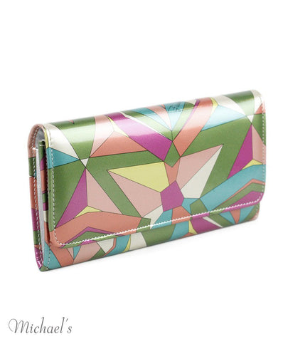 Emilio Pucci Green Fuchsia Print Patent Leather Wallet