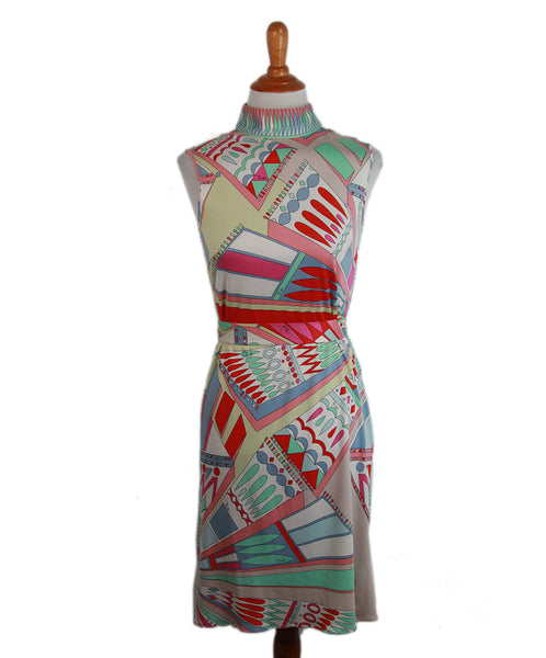 Emilio Pucci Green Yellow Silk Pink with belt Dress 1