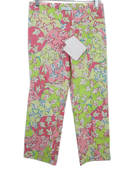 Emilio Pucci Pink Lime Green Print Cotton Cropped Pants 1