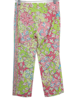Emilio Pucci Pink Lime Green Print Cotton Cropped Pants 2