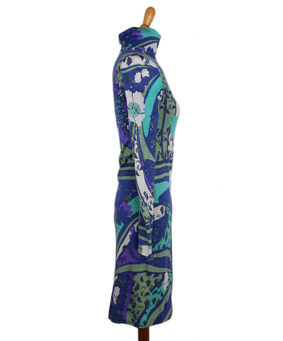 Emilio Pucci Purple Blue Black print dress 1