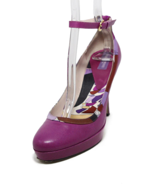 Emilio Pucci Purple Leather print trim heels 1