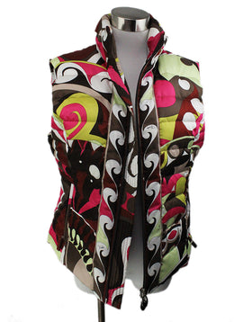 Emilio Pucci Brown Multi Silk Quilted Polyester Vest 1