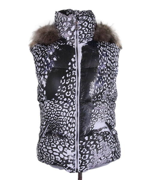 Emilio Pucci White Olive Print Quilted Vest 1