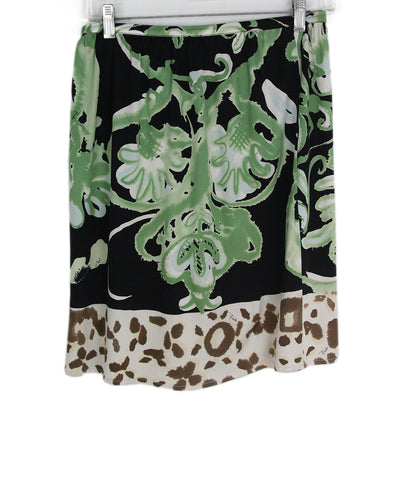 Emilio Pucci black green print skirt 1