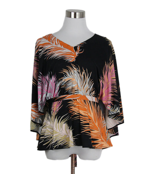 Emilio Pucci Black Orange Pink Jersey Top Blouse 1