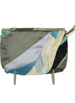 Emilio Pucci Blue Green Print Silk Cosmetics Bag 1