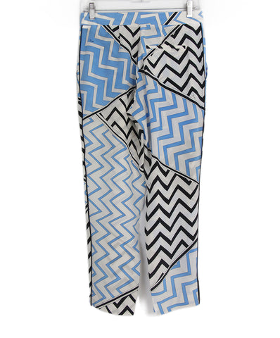 Emilio Pucci blue white black silk pants 1