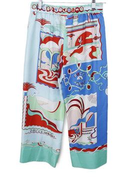 Emilio Pucci Green Blue Red Pink Silk Pants 1