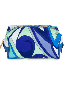 Emilio Pucci Green Blue White Nylon Cosmetic Pouch 1